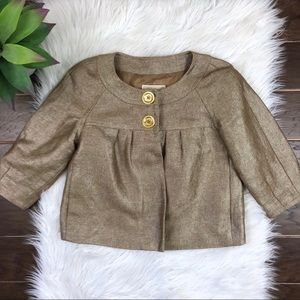 [Michael Kors] Gold Cropped Festive Blazer Petite